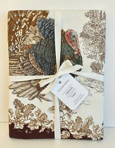 """WILLIAMS SONOMA Plymouth Turkey Tablecloth THANKSGIVING Botanical Toile 90""""RD NW"""