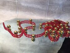 New listing Vintage Red Bead & gold jingle bell String Garland~9 Feet