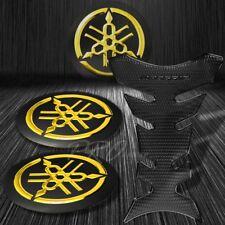 "Perforated Black Pro Fuel Tank Pad+2"" Chrome Gold Yamaha Logo Emblem Sticker Kit"