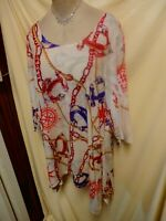 Cal Style Red, Blue, Ivory Anchor, Rope, Chain Design Asymmetrical Hem Top XL
