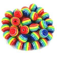 40 x Acrylic round beads Rainbow gay  12mm x 11mm Jewellery making Kids Craft A5