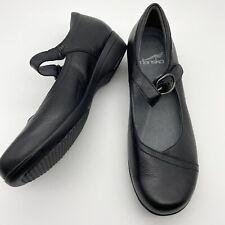 Dansko Mary Jane shoes size 37 6.5 7 Black Leather EUC Slip on adjustable