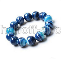 10mm Natural Blue Agate Gemstone Round Beads Stretchy Bangle Bracelet