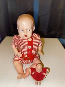 """Antique Baby Doll Vintage Old Celluloid Plastic 1940's With 1"""" Plastic Baby 🤩"""