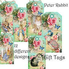 12 Peter Rabbit Gift Tags~ Birthday ~ Wedding Favour~ Christening Card Toppers