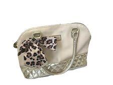 Betsey Johnson Beige Gold Hand Bag Bucket Bowler Purse Leopard Bow Logo Charm