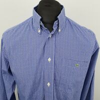 Lacoste Mens Vintage Shirt 39 SMALL Long Sleeve Blue Regular Fit Check Cotton