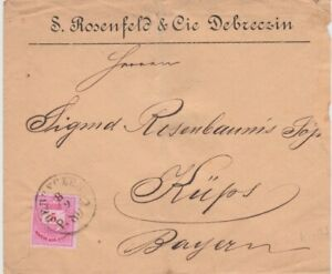 Hungary-1880 5 k rose on Jewish related Debreczin letter cover to Kups, Bavaria
