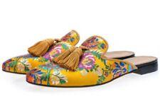 Men's Wedge Embroidery Flat Wearproof Driving Casual Slip On Mules Shoes Ske15