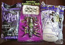 New! Fun World Spooky Spiders & Webbing & Rubie's Giant Black Widow Spider Webs
