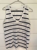 Madewell Women's Size Extra Small XS Loose Fit V Neck Striped T Shirt Tank Top