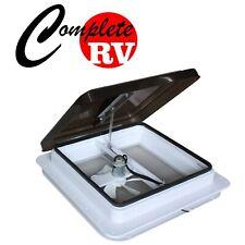 12V Fan Caravan RV Roof Vent Manual Shower Hatch 355mm x 355mm 14inch Smoked Lid