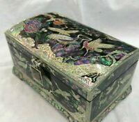 Mother of Pearl Inlaid Wooden Jewelry Keepsake Box Decorative Oriental Art Case