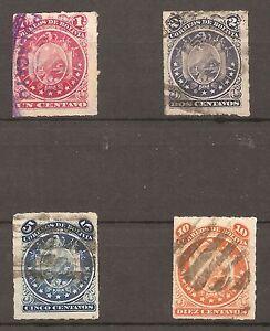 "BOLIVIA-1887-ARMS & BOOK- Y&T nrs.23 til 26  -""PERCÉ"" -COMPLETE SET"