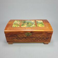 Vintage Carved Cedar Wood Keepsake Jewelry Box Gold Rose Mirror