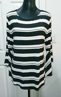 INC International Concepts Women's Black/White Striped Bell-sleeve Blouse XL