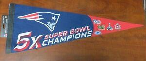 NFL New England Patriots 5X Super Bowl Champions Cloth Collectors Pennant