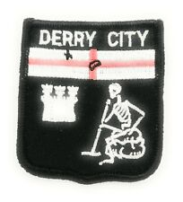 Approx 70mm FREE UK Delivery! DERRY CITY SHIELD Embroidered Sew on Patch