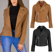 New WOMEN Suede Look Size Zip CLASSIC Ladies BIKER JACKET Coat TAN BROWN 6-14 UK