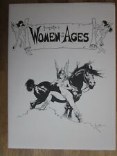 Frank Frazetta Portefeuille Woman of the Ages 6 B/W plates + Folder signed! 1977 Presque comme neuf