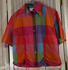 "CULT BY MAX B. Vintage Colour Block Blouse M 41"" Bust Short-Sleeve Check Top"