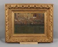 19thC Antique Impressionist Oil Painting Ganges River Laundry & Gold Gilt Frame