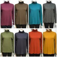 Ladies Ribbed Polo Turtle Roll Mock Neck Long Sleeve Jumper Women Tops 8-22
