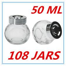 108 X MINI CLEAR GLASS SPICE JAR JARS WITH SILVER LIDS 50ML KITCHEN STORAGE AP