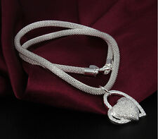 Matte Heart Pendant Silver Plated Stunning Snake Chain Necklace Jewelry Gift