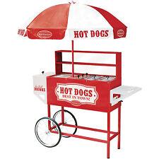 Commercial Hot Dog Cart Stand Grill Cooker, Drink Cooler & Bun Warmer w Umbrella