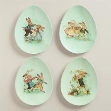 KIDS TABLE  4 VINTAGE  PRINT  NESTLER EGG SHAPE PLATES MELAMINE EASTER NEW