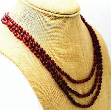 """Red garnet bead necklace 17-19 """" Fashion boutique 3 rows 4 mm faceted"""