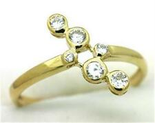 Natural Fancy Bezel Set White Sapphire 9ct 9K Solid Gold Ring Bravo Jewellery
