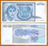 Yugoslavia, 100 Dinara, 1992 P-112, UNC > Woman