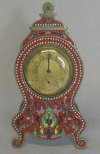 Antique French Champleve Enamel Travel Clock  Art Nouveau  c. 1890