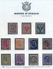 1901 Floreale cpl 11 Val./ 8 su 11 val nuovi senza linguella usati il 25,40,50 c