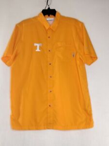 Columbia PFG Mens Medium Orange Button Up Collared Short Sleeve Graphic Shirt