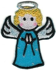 """1 1/2"""" x 1 7/8"""" Christmas Blue Angel with Halo Embroidery Patch"""