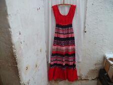 Superbe Robe Longueur Vintage Floral  rouge et Noir Année 1980 Taille 36