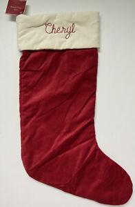 POTTERY BARN CLASSIC VELVET CHRISTMAS STOCKING *CHERYL* NEW RED IVORY LARGE NWT