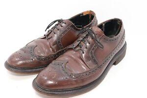 Vintage Mansfield Bostonian Brown Leather Wingtip Brogue Dress Shoes Sz 8-1/2