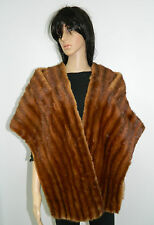RED WHISKEY MINK FUR COLLAR STOLE SCARF CAPE WRAP  n169