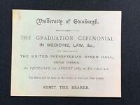 1889 Antique Invitation Card Ticket, University of Edinburgh Graduation Ceremony