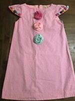 Boutique Lola Et Moi Girl Pink Polka Dot Flowers Dress 8 9 10 EUC