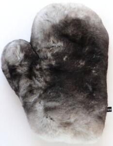 Pelz Handschuh Rex Wellness Massage Streichel Fell Farbe Chinchilla Dark Grau