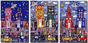 James Rizzi, Set von 3 Magneten / Magnetschildern nach einer Magnetwand v. 1990