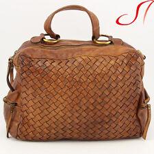Vintage echt Leder Handtasche Ledertasche Damen Braun used Look NEU geflochten