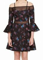 Guess NEW Black Womens Size 2 Floral Print Bell Sleeve A-Line Dress $118 079