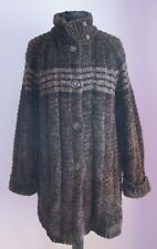 VTG Ladies CASTLEBERRY Brown Chenille Lined Cardigan Size Large (66e)