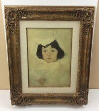 Vintage Framed Print Child in White by Whistler w/ Heavy Ornate Goldtone Frame